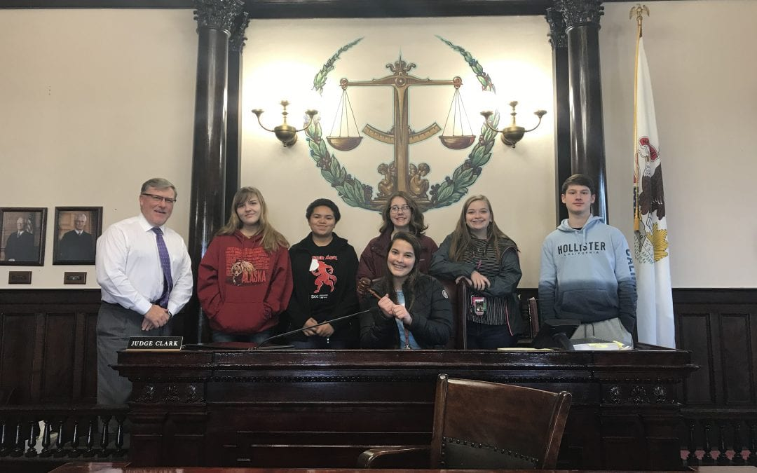 The business law students visited the Hancock County Courthouse for a tour and a question and answer session with Circuit Judge Rodney Clark today.