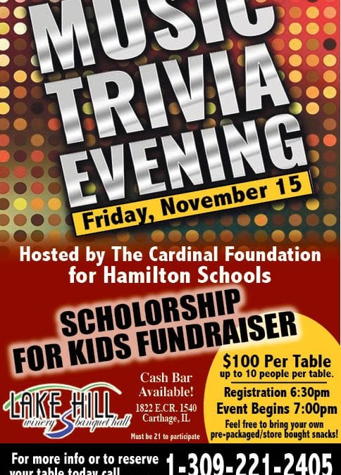 Get your team together for our annual Music Trivia Night! Register your table of 10 for $100. Must be at least 21. All proceeds go to scholarships for Hamilton seniors!