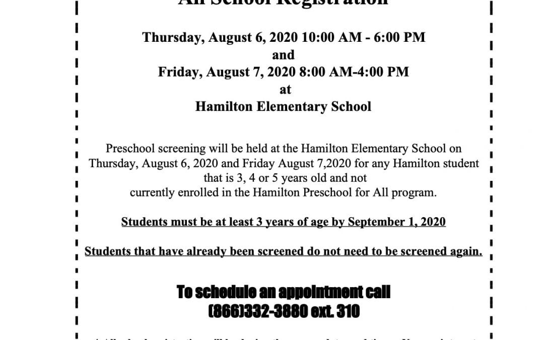 Fall Preschool Screenings will be held August 6th and 7th. Details on the attached flyer.
